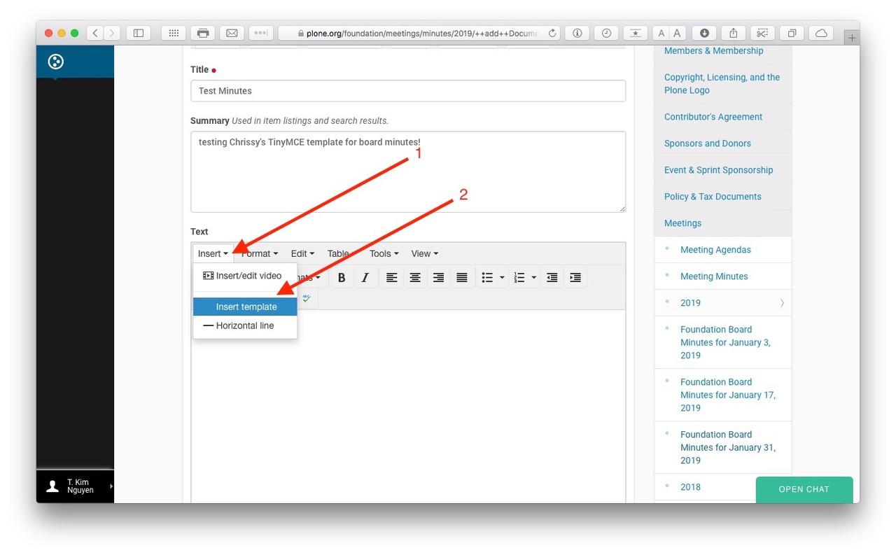 screenshot: use TinyMCE insert menu